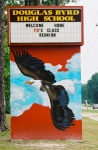 Welcome sign in front of Douglas Byrd High School.